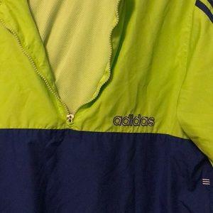 Adidas Neon Green and Blue Zipped Windbreaker